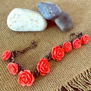 Jewelry - Coral Rose And Grey Bracelet 🌹